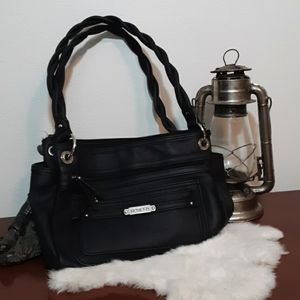 Rosetti Black Braided handle shoulder bag